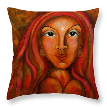Red Thread Madonna Throw Pillow by Deborha Kerr