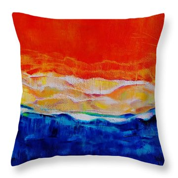Red Tide Effect Throw Pillow by Jean Cormier