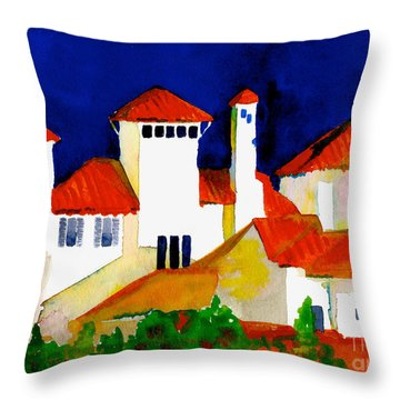 Red Tiles And Blue Skies Throw Pillow by Nan Wright
