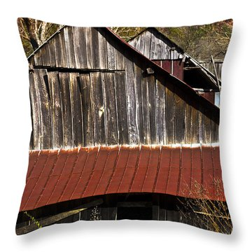 Red Tin Roof Throw Pillow by Debra and Dave Vanderlaan