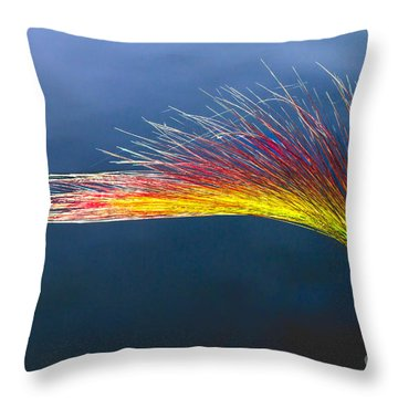 Red Tipped Grass Throw Pillow by Robert Bales