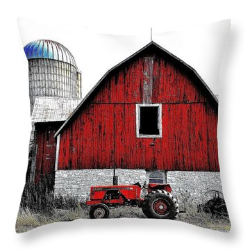 Red Tractor - Canada Throw Pillow