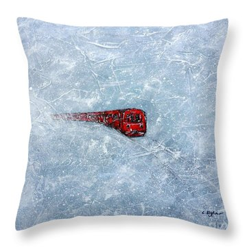 Red Train Braving The Winter Throw Pillow