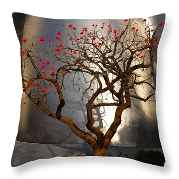 Red Tree  Throw Pillow by Gandz Photography