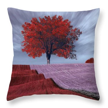 Throw Pillow featuring the painting Red Tree In A Field by Bruce Nutting