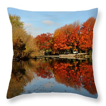 Red Trees Double Throw Pillow by Diane Lent