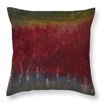 Red Trees Watercolor Throw Pillow