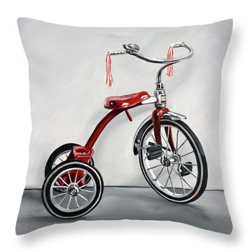 Red Tricycle 1 Throw Pillow by Gail Chandler