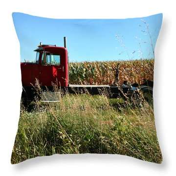 Red Truck In A Corn Field Throw Pillow by Lon Casler Bixby