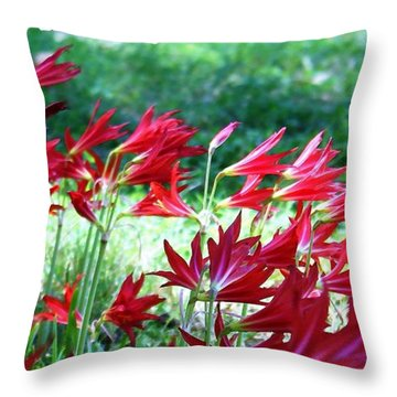 Throw Pillow featuring the photograph Red Trumpets by Ellen O'Reilly