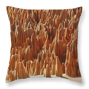 Throw Pillow featuring the photograph red Tsingy Madagascar 1 by Rudi Prott
