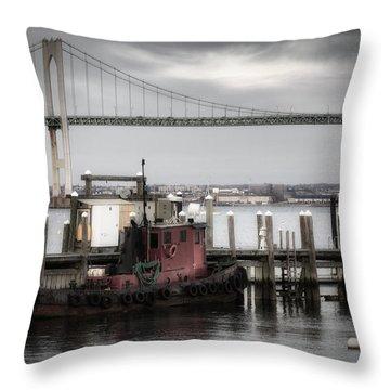 Red Tugboat And Newport Bridge II Throw Pillow