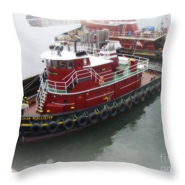 Throw Pillow featuring the photograph Red Tugboat by Kristine Nora