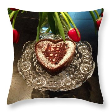 Red Tulip And Chocolate Heart Dessert Throw Pillow