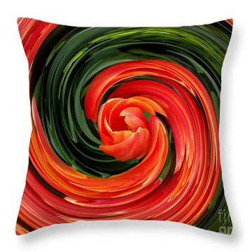 Red Tulip Throw Pillow by Hanza Turgul