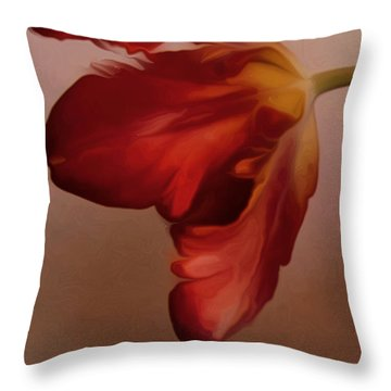 Throw Pillow featuring the digital art Red Tulip by Nop Briex