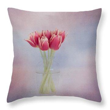Red Tulip Still Life Throw Pillow by Kim Hojnacki