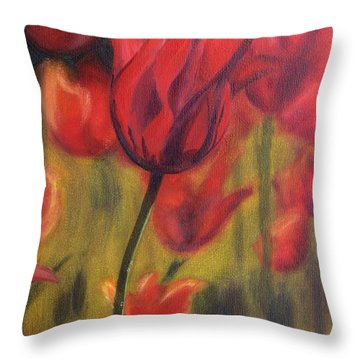 Throw Pillow featuring the painting Red Tulips by Donna Tuten