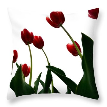 Red Tulips From The Bottom Up Vl Throw Pillow by Michelle Calkins
