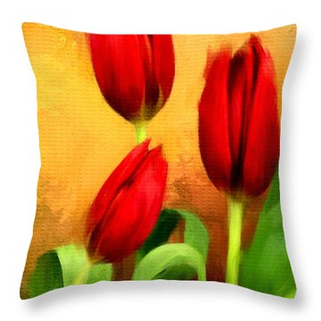 Red Tulips Triptych Section 2 Throw Pillow by Lourry Legarde