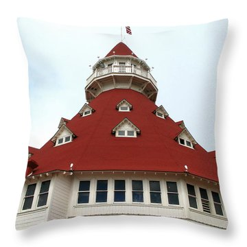Red Turret - Hotel Del Coronado Throw Pillow by Connie Fox