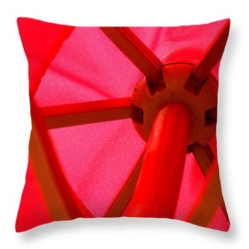 Red Umbrella Throw Pillow by Art Block Collections