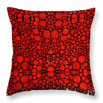 Red Valley - Abstract Landscape Stone Rock'd Art Throw Pillow by Sharon Cummings