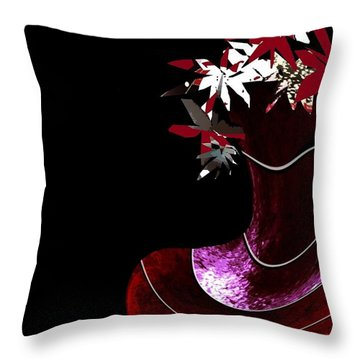 Red Vase Throw Pillow by Ann Calvo
