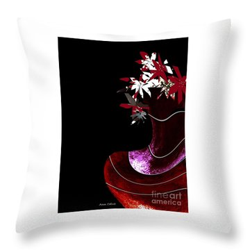 Red Vase Throw Pillow