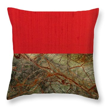 Red Veins Throw Pillow by Margaret Ivory