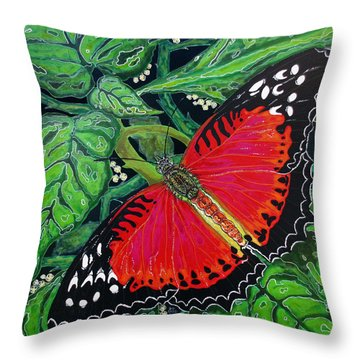 Throw Pillow featuring the painting Red Butterfly by Debbie Chamberlin
