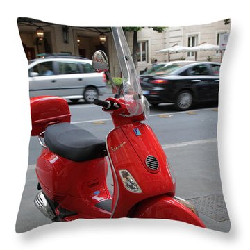 Red Vespa Throw Pillow by Inge Johnsson