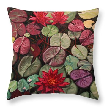 Red Water Lilies Throw Pillow