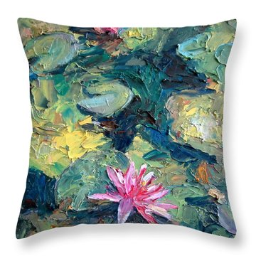 Red Waterlily  Throw Pillow by Jieming Wang
