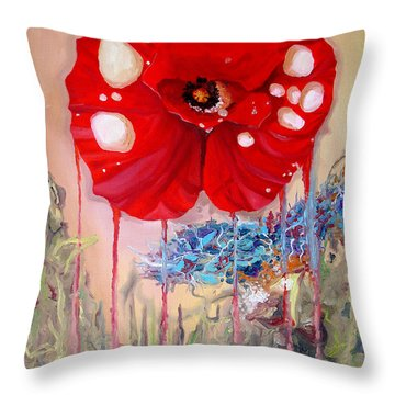 Throw Pillow featuring the painting Red Weed Red Poppy by Daniel Janda