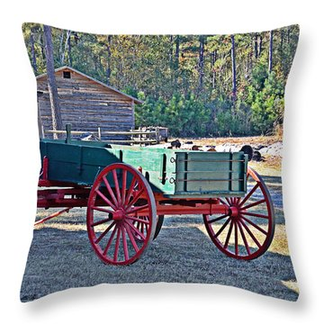 Throw Pillow featuring the photograph Red-wheeled Wagon by Linda Brown