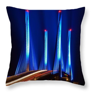 Red White And Blue Indian River Inlet Bridge Throw Pillow