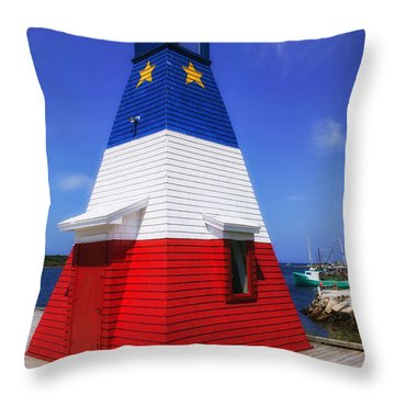 Red White And Blue Lighthouse Throw Pillow by Garry Gay