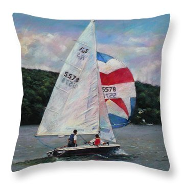 Throw Pillow featuring the drawing Red White And Blue Sailboat by Viola El