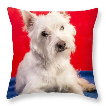 Red White And Blue Westie Throw Pillow