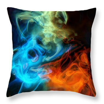 Red White And Blue Wispy Swirls Throw Pillow