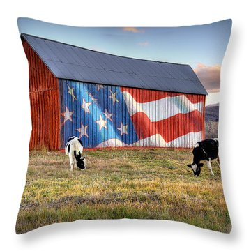 Red White And Moo Throw Pillow