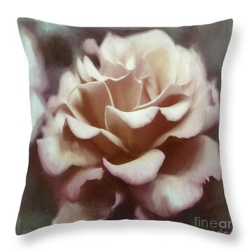 Throw Pillow featuring the photograph Red White Rose by Jean OKeeffe Macro Abundance Art