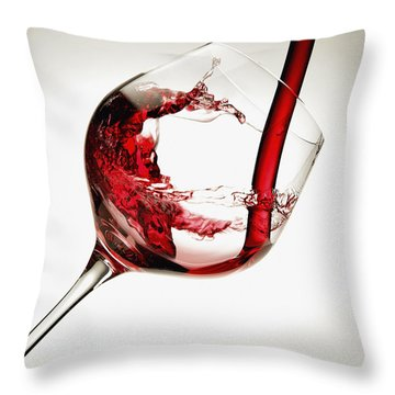 Red Wine Pouring Into A Glass Throw Pillow by Richard Desmarais