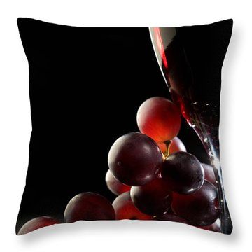 Red Wine With Grapes Throw Pillow