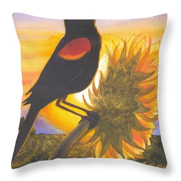 Red-wing Blackbird Throw Pillow