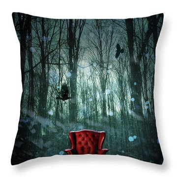 Red Wing Chair In Forest At Twilight Throw Pillow by Sandra Cunningham