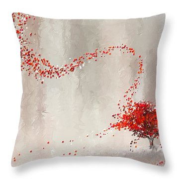 Red Winter Throw Pillow