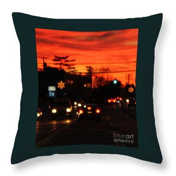 Red Winter Sunset Over Long Island Suburbs Throw Pillow by John Telfer