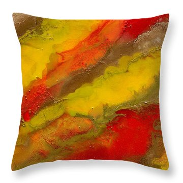 Red Yellow Gold Abstract Throw Pillow